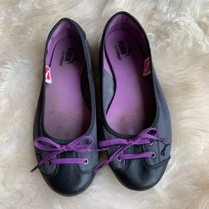 Puma Black Purple Sneaker Flats